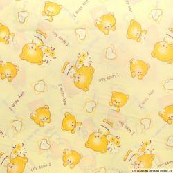 Polycoton imprimé Ours jaune