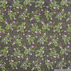 Polycoton imprimé fleurs violettes fond noir