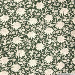 Polycoton imprimé dessin fleurs fond vert