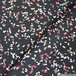 Satin polyester imprimé confettis fond noir