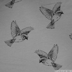 Jersey coton imprimé oiseaux fond gris