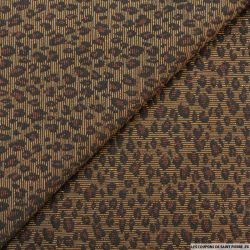 Jacquard de polyviscose leopard caramel