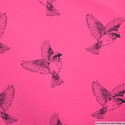 Jersey coton imprimé oiseaux fond fuchsia