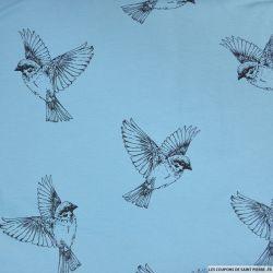 Jersey coton imprimé oiseaux fond ciel