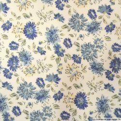 Coton imprimé fleurs bleues sur fond écru