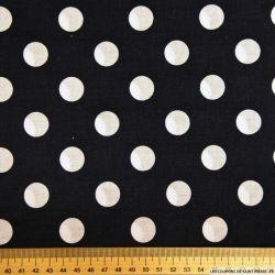 Coton noir imprimé gros pois