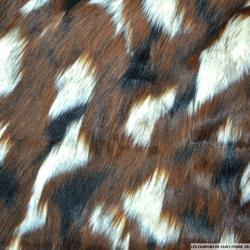Fourrure Synthétique à poil long marron,crème et noir