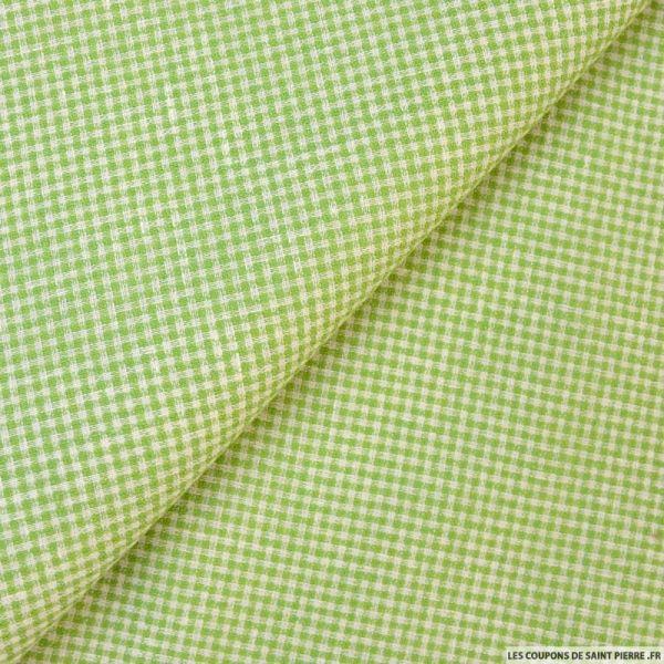 Lin carreaux vert et écru