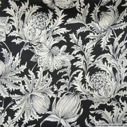 Satin polyester imprimé fleurs noir et blanc