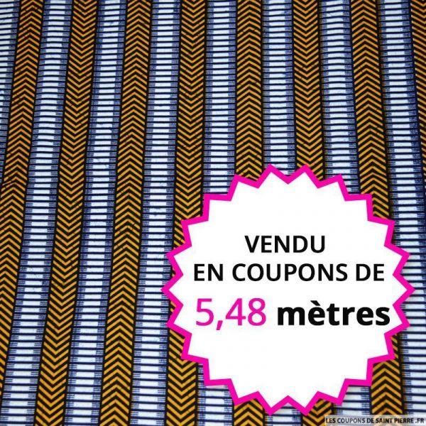 Wax africain ethnique jaune et bleu vendu en coupon de 5,48 mètres