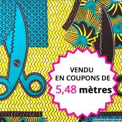 Wax africain feuilles tropical bleu, vendu en coupon de 5,48 mètres