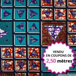 Wax africain triangle fond vert, vendu en coupon de 2,50 mètres