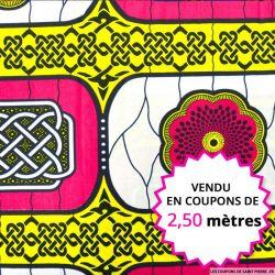 Wax africain médaillon rosace , vendu en coupon de 2,50 mètres