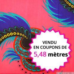 Wax africain plume fond rose , vendu en coupon de 5,48 mètres