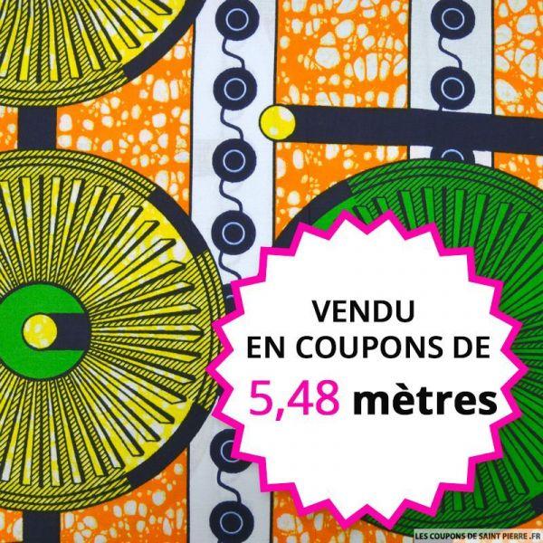 Wax africain roue verte et jaune , vendu en coupon de 5,48 mètres