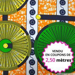 Wax africain roue verte et jaune , vendu en coupon de 2,50 mètres