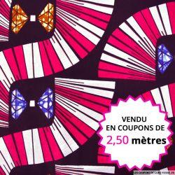 Wax africain diamants fond rose et blanc , vendu en coupon de 2,50 mètres