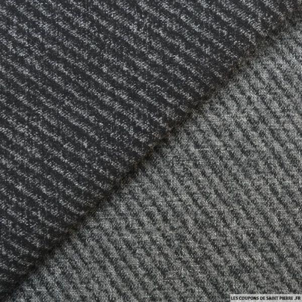 Lainage diagonale double face gris