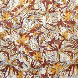 Mousseline polyester imprimé jungle chocolat rayures irisé