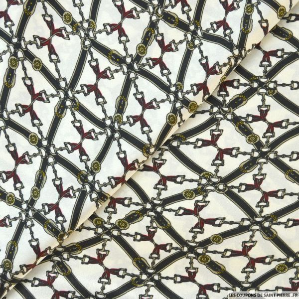 Satin polyester imprimé sellerie équestre fond ivoire