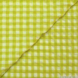 Seersucker polyester carreaux vert anis