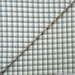 Seersucker polyester quadrillage gris
