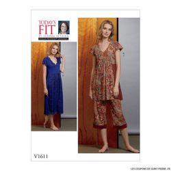 Patron Vogue V1611 : Chemise de nuit et pantalon