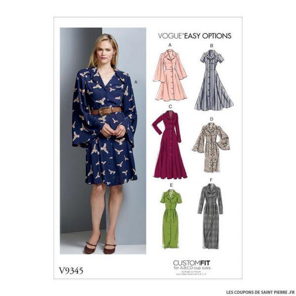 Patron Vogue V9345 : Robe chemise