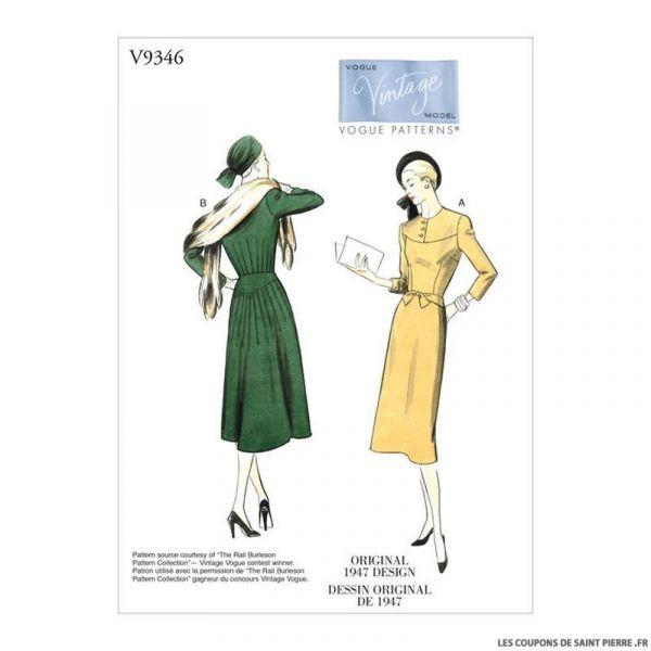 Patron Vogue V9346 : Robe vintage