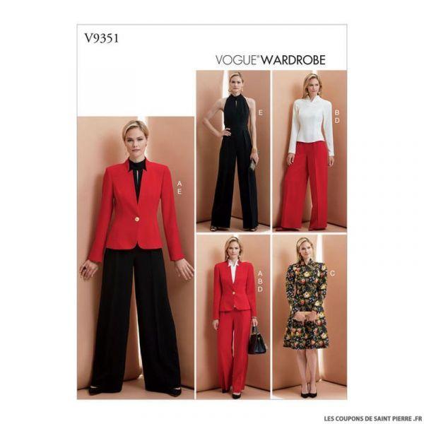 Patron Vogue V9351 : Veste, haut, robe et pantalon