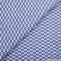 Tweed de laine motif fantaisie bleu et blanc