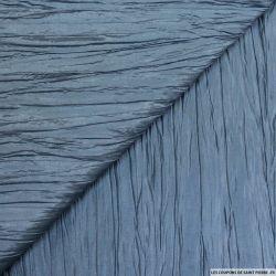 Taffetas polyester froissé bleu ardoise