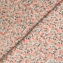 Mousseline de Soie imprimé fleurs rouges