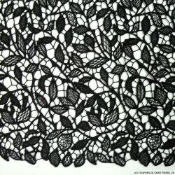 Guipure florale festonnée noir au mètre