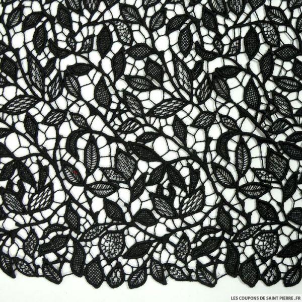 Guipure florale festonné noir