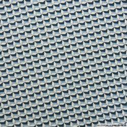 Crêpe polyester gaufré imprimé cubique bleu et blanc
