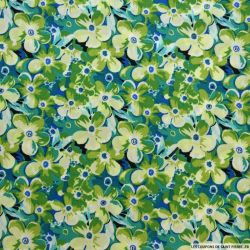 Crêpe polyester gaufré imprimé fleurs vert