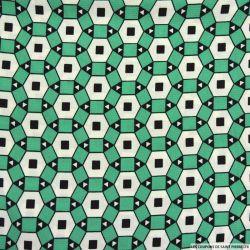 Crêpe polyester gaufré imprimé graphique vert