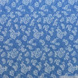 Microfibre imprimée cachemire fond bleu chiné