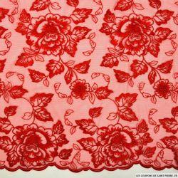 Tulle dentelle brodé festonné florale rouge au mètre