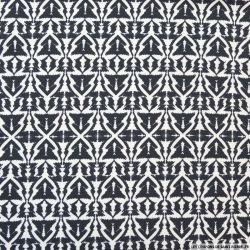 Jersey polyester imprimé tribal noir et blanc