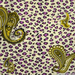 Polycoton imprimé sauvage violet