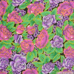 Polycoton imprimé fleurs roses et violettes