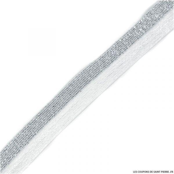 Biais élastique bicolore argent fond blanc - 20 mm  au mètre