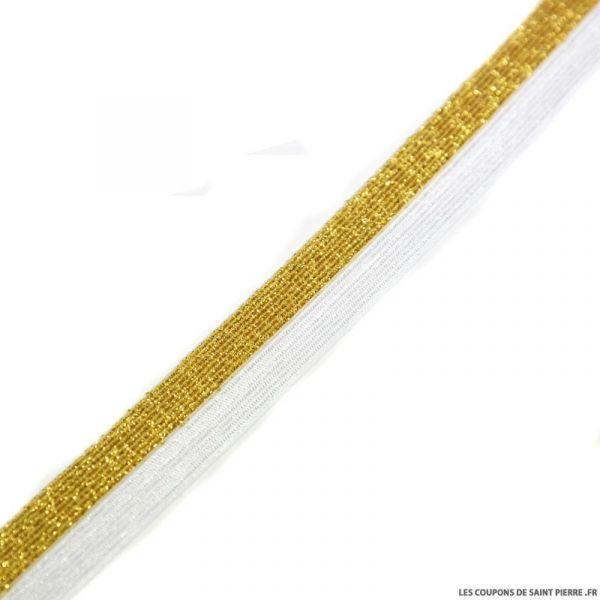 Biais élastique bicolore or fond blanc - 20 mm  au mètre