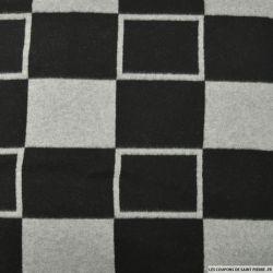 Tissu polaire imprimé carreaux noir et gris