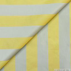 Taffetas polyester rayé blé et gris