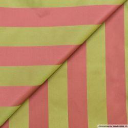 Taffetas polyester rayé rose et pistache