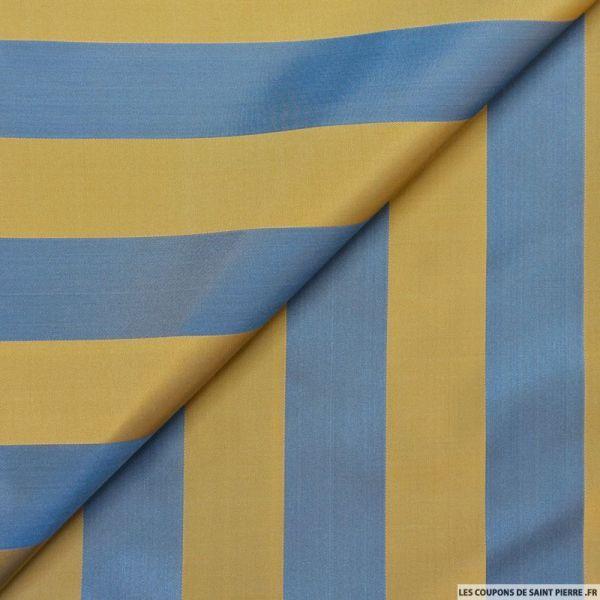 Taffetas polyester rayé bleu et ocre