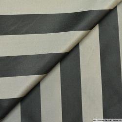 Taffetas polyester rayé noir et gris